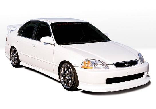 Wings West - 1996-1998 Honda Civic 4Dr Racing Series 4Pc Kit W/Touring Style Front Lip Polyurethane