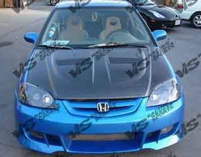 VIS Racing - Carbon Fiber Hood Xtreme GT Style for Honda Civic 2DR & 4DR 01-03 - Image 5