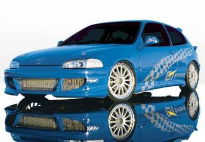 Wings West - 1992-1995 Honda Civic Hb Bigmouth 4Pc Complete Kit W/Racing Series Sides & Rear - Image 2